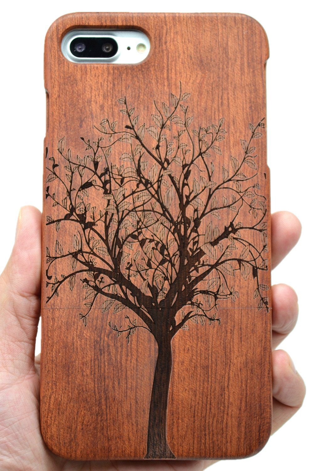 PhantomSky Stylish Carved Pattern Wooden Case for iPhone 7 / iPhone 8, Premium Quality Handmade Natural Wood Hard Case Non-Slip Shockproof Design Protective Cover - Rosewood Christmas Tree by PhantomSky