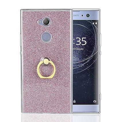 Funluna Sony Xperia XA2 Ultra Funda Dedo, Carcasa de Glitter Bling Silicona con 360 Grados Rotating Soporte Anti-Gota Anillo Bumper Case para Sony ...