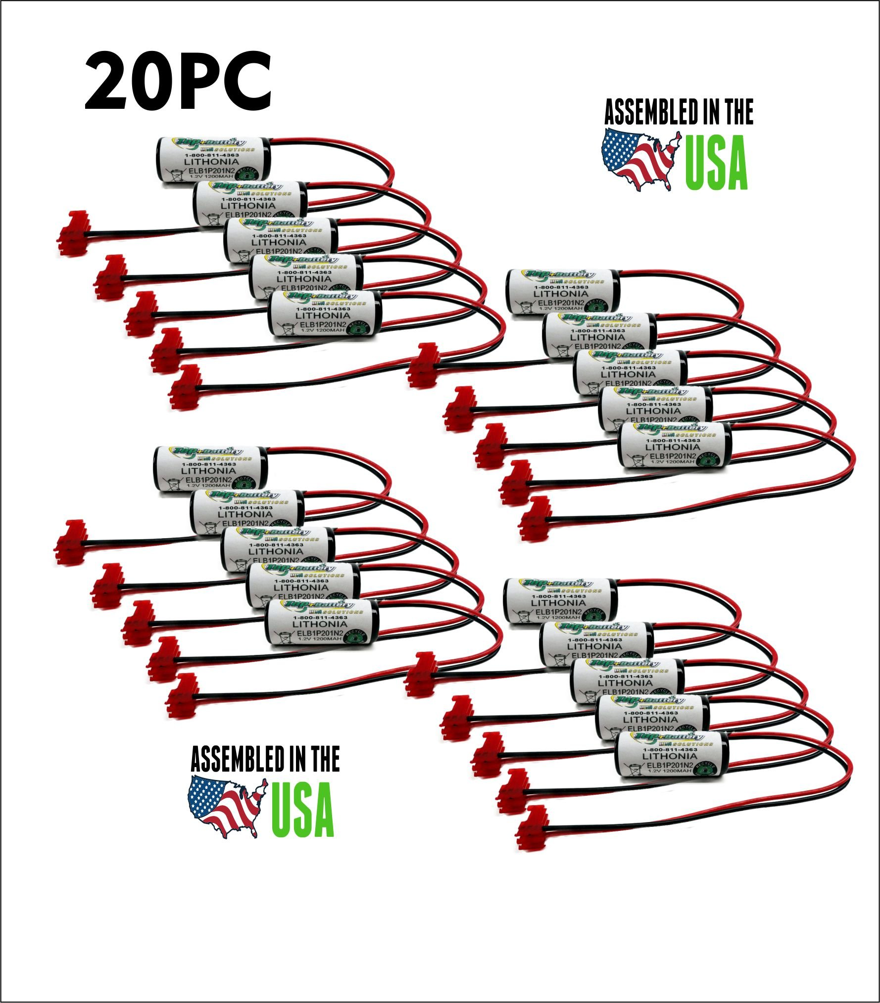 20pc Lithonia Emergency Lighting Battery for Model ELB1P201N, ELB1P201N2 by TOP BATTERY SOLUTIONS (Image #1)