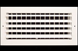 """12"""" x 6"""" - 1-Way Air Vent - Adjustable Aluminum Curved Blades - Maximum Air Flow - HVAC Grille [Outer Dimensions: 14"""" Wide x 8"""" Height]"""