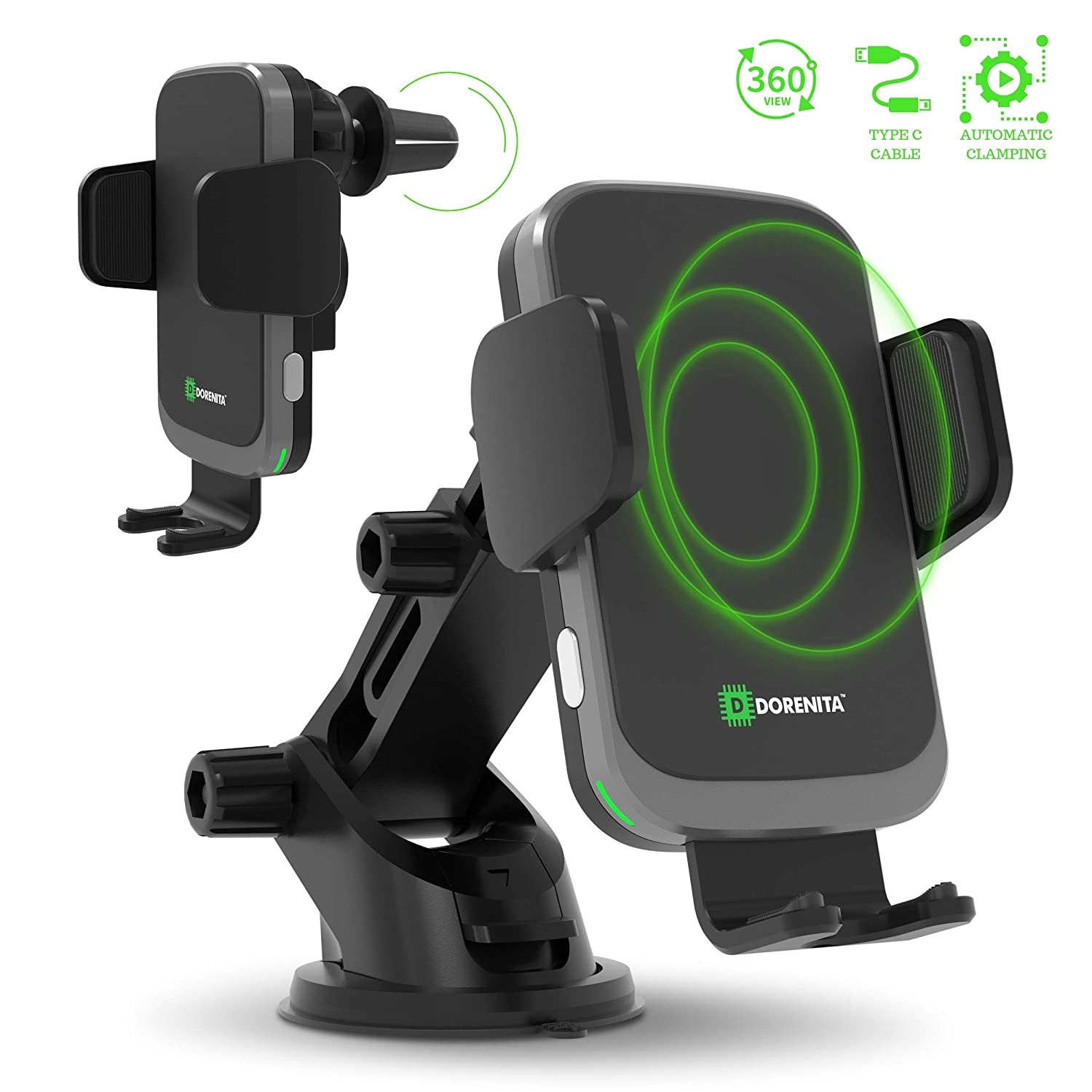 DORENITA Wireless Car Charger Mount: Automatic Clamping and Fast Qi Charging Cell Phone Holder for Car - Compatible with iPhone X, XS Max, Xs, XR, 8, ...