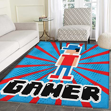Amazon Com Video Games Rug Kid Carpet Blue And Red Striped Boom