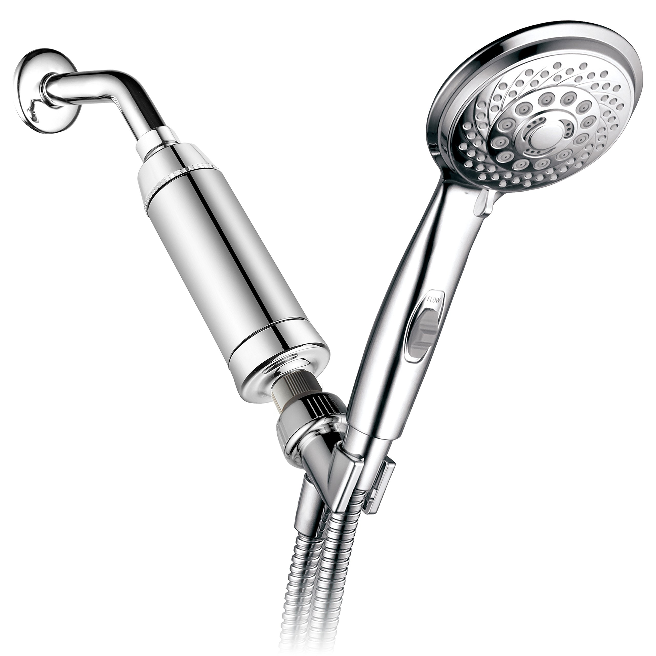 HotelSpa 7-Setting Handheld Shower with Patented ON/OFF Pause Switch and Universal High Performance 2 Stage KDF/CAG Shower Filter with Disposable Cartridge (Premium Chrome Finish)