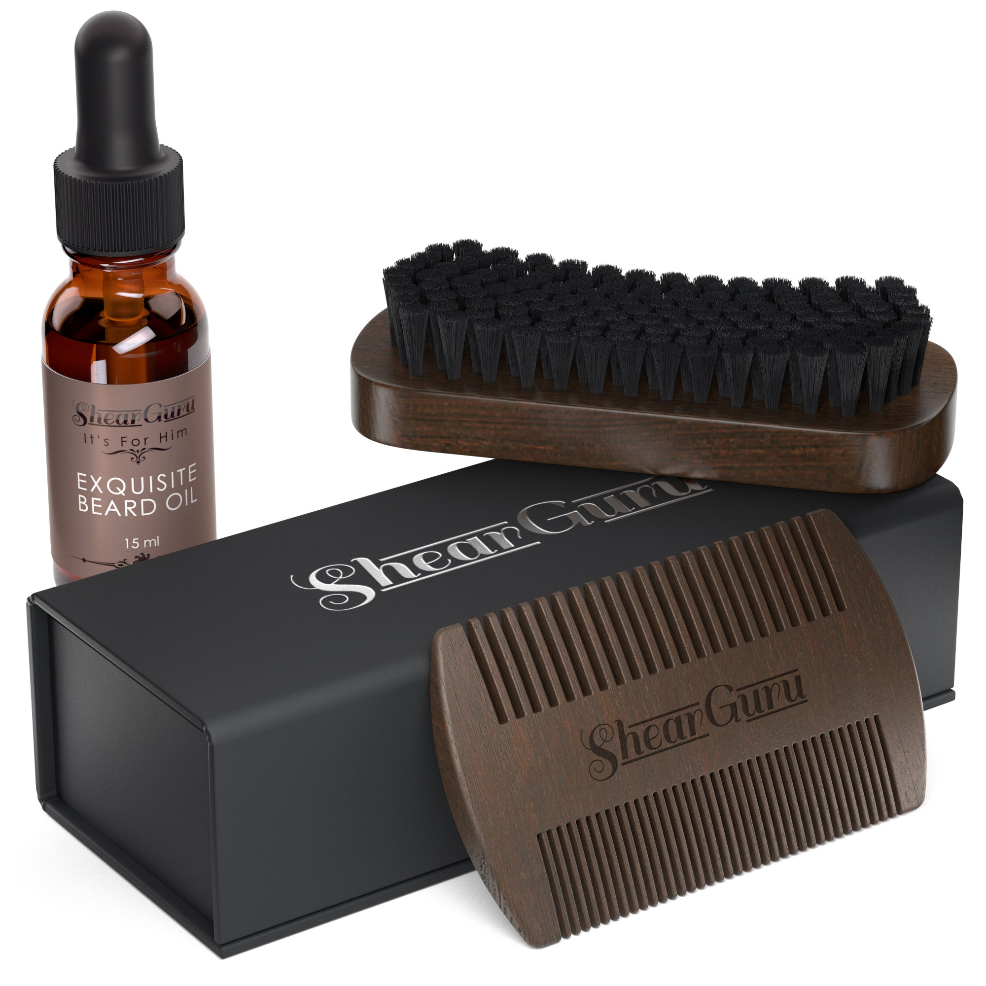 Natural Complete Care Beard Grooming Kit for Men– Includes 100% Boar Bristle Bamboo Brush, Handmade Wood Comb and Beard Oil that Promotes Beard Health and Growth (regular)