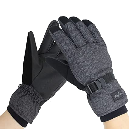 857f512e4ec317 CAMYOD Waterproof Ski Snowboard Gloves with 3M Thinsulate, Cold Weather  Gloves for Men(Piping