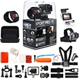 SportPro 4K UHD Wifi TOUCH SCREEN Sports Camera with Wireless Wrist Remote and Super Premium Accessory Kit - Touch Screen and Wireless Wrist Remote - 4K Ultra HD - Extra Battery – Chest Strap