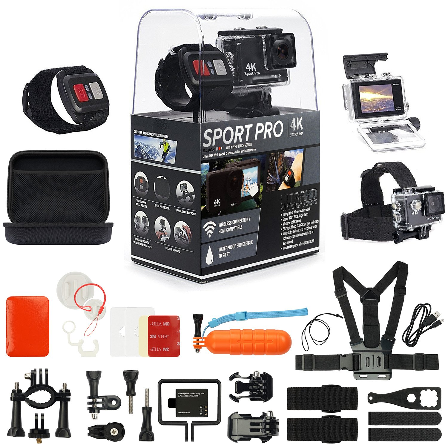 SportPro 4K UHD Wifi TOUCH SCREEN Action Camera with Wireless Wrist Remote and Super Premium Accessory Kit - Touch Screen and Wireless Wrist Remote - 4K@30FPS Ultra HD - Extra Battery – Chest Strap
