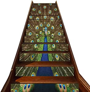 3D Peacock Pattern Stair Stickers 13 PCS,Portrait of Peacock with Feathers out Vibrant Colors Birds Summer Garden Stair Treads Decals Removable Staircase murals,for Hotel Home Staircase Riser Decor