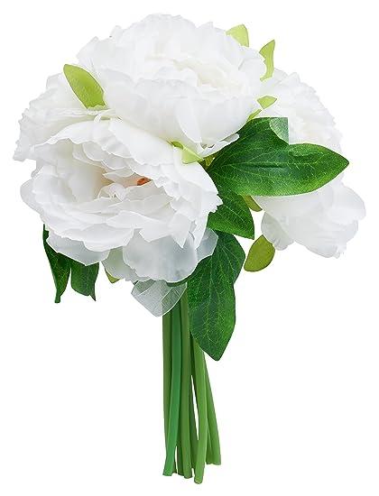 Amazon artificial silk peony flower bouquet 10 14 inches 5 artificial silk peony flower bouquet 10 14 inches 5 stems white mightylinksfo