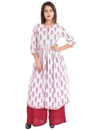 857bd2a0de70ad Teej Tunic Top With Bottam Ethnic Set Red White Floral Printed Indo-Western  Desigenr Princess