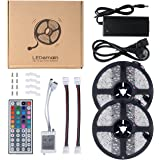 LEDemain 5050 Flexible Strip Light Complete Kit 10M 300 LEDs with 44 Keys IR Remote + 12V 6A UK Plug (Waterproof)