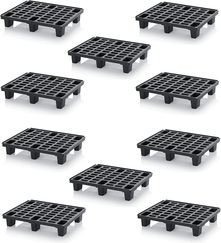 10x Leichtpalette 80x60 Kunststoffpalette im 1/2-Europaletten Maß inkl. gratis Zollstock * Halbe Palette, 10er Set