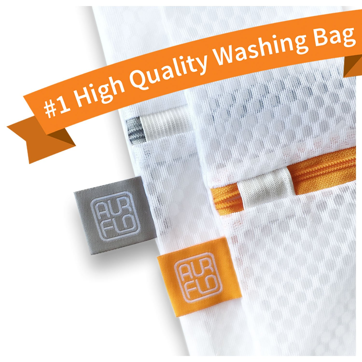 AURFLO Mesh Laundry Bag-Set of 2 Extra Large Heavy Duty Net with Zipper Lock, Color Coding and Hanging Loop-Safe Wash and Organizer for Travel, Lingerie, Gloves, Socks, Yoga Pants, Bra, Jeans, Sweater