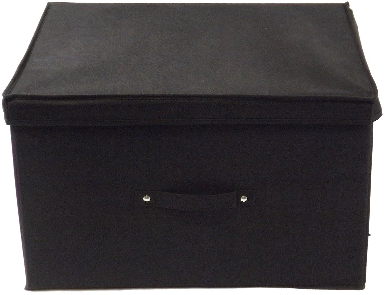 Neusu Jumbo Resistente Caja De Almacenaje Plegable De Color Negro - 50 cm x 40 cm x 30 cm (60 Litros De Capacidad) - Perfecta Para Cualquier Habitación (El ...