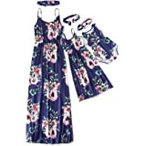 IFFEI Mommy and Me Matching Maxi Dress Floral Printed Summer Spaghetti Straps Long Dress