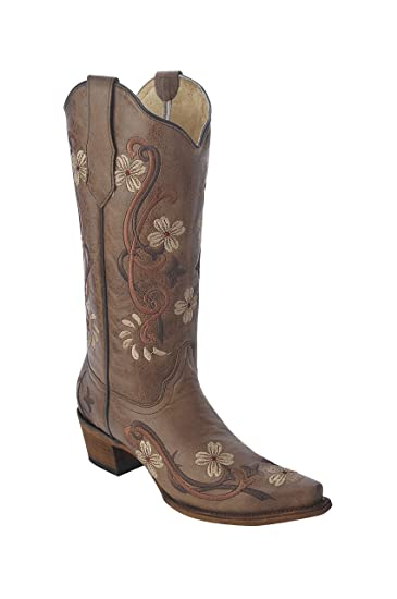 8a4ab42fd58 Corral Circle G Women's Multi-Colored Embroidered Genuine Brown Leather  Cowgirl Boots