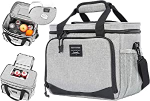 Movcompra Top Opening Insulated Lunch Bags for Men Women With Adjust-shoulder Strap 16 Can Adult Leakproof Lunch Box for Office Work. (Grey)