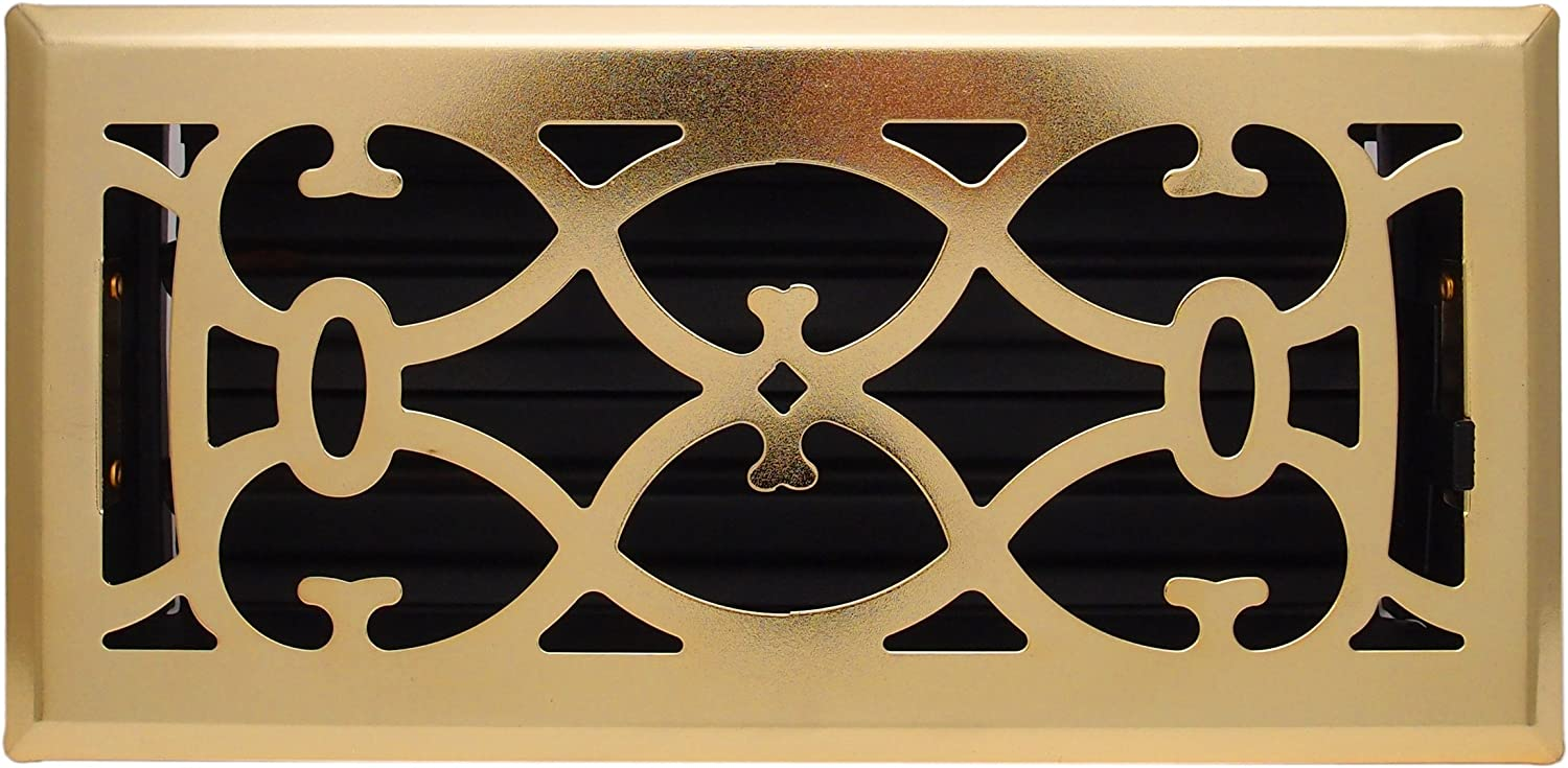 2 X 10 Brass Victorian Floor Register Grille Modern Contempo Decorative Grate Hvac Vent Duct Cover Brass Plated