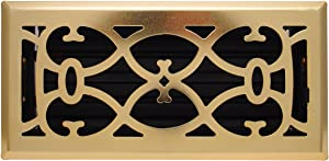 """2"""" X 10"""" Brass Victorian Floor Register Grille - Modern Contempo Decorative Grate - HVAC Vent Duct Cover - Brass Plated"""