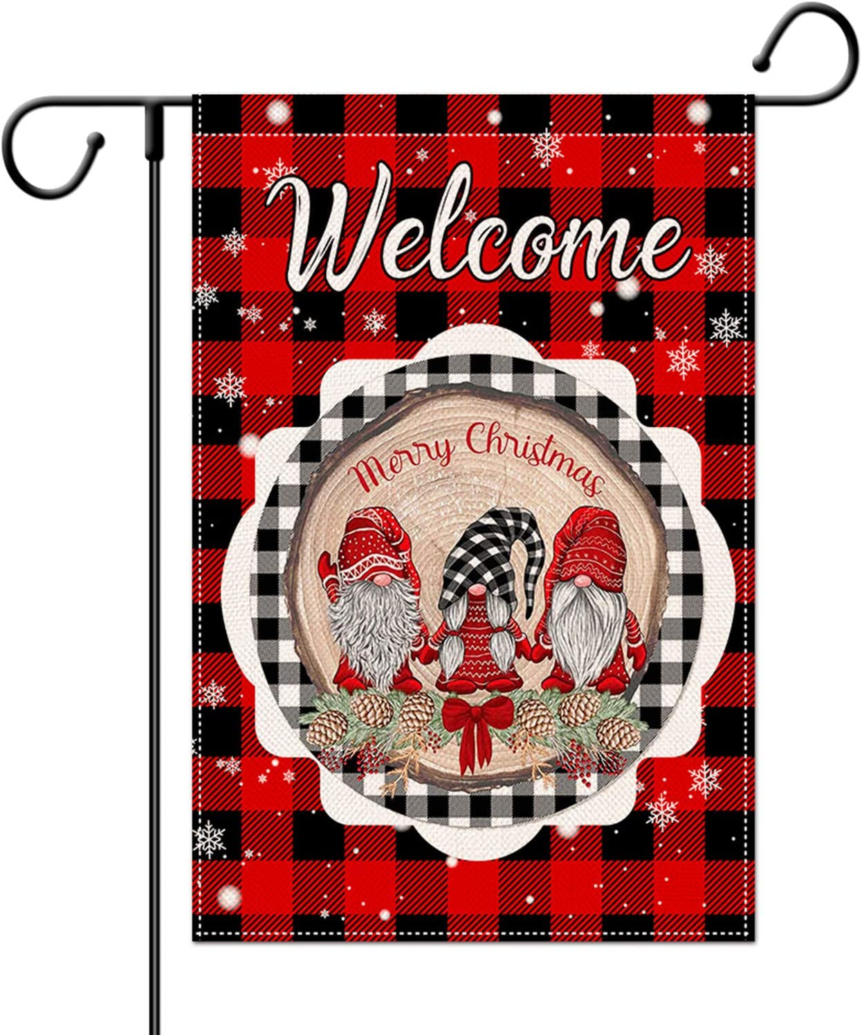 SHANGXING Christmas Gnomes Garden Flag-12.4 x 18.8 Inch Double-Sided Printed Red&Black Plaid Happy Xmas Yard Burlap Banner for Home & Outdoor Decoration (Snowflake Plaid)