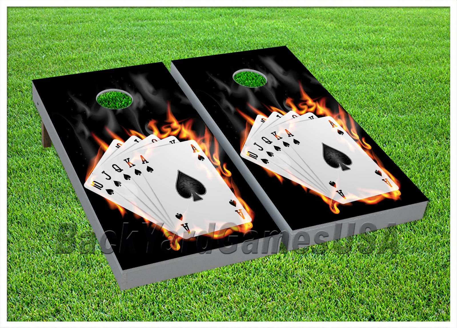 CORNHOLE BEANBAG TOSS GAME w Bags Game Royal Flush Casino Cards Boards Set 901 by BackYardGamesUSA