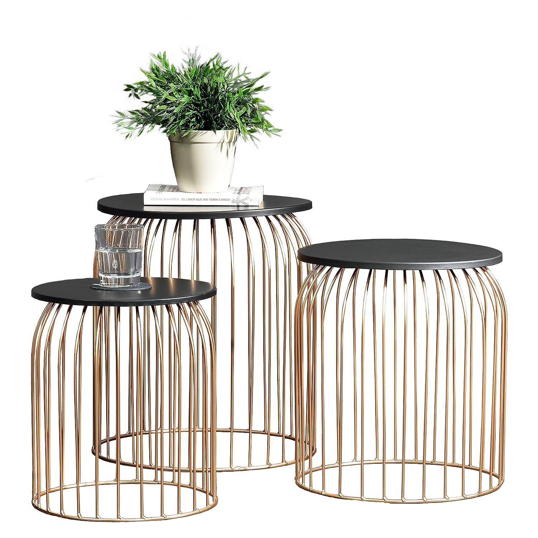 [en.casa] Stylischer Metallkorb im 3er Set - Design Beistelltisch/Couchtisch kupferfarben Metall