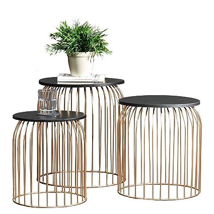 Table D Appoint Casa.En Casa Kit De 3 Paniers En Metal Table D Appoint Table De Salon Table Basse Metal Cuivre Differents Types De Taille 3