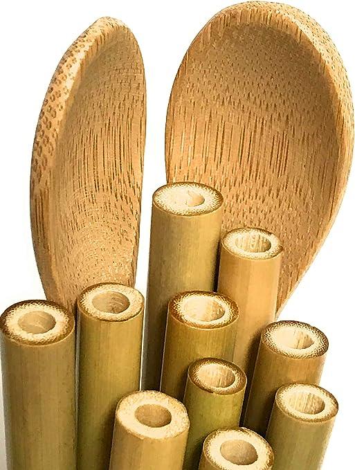 Juego de paja y cuchara de bambú reutilizable, biodegradable ...