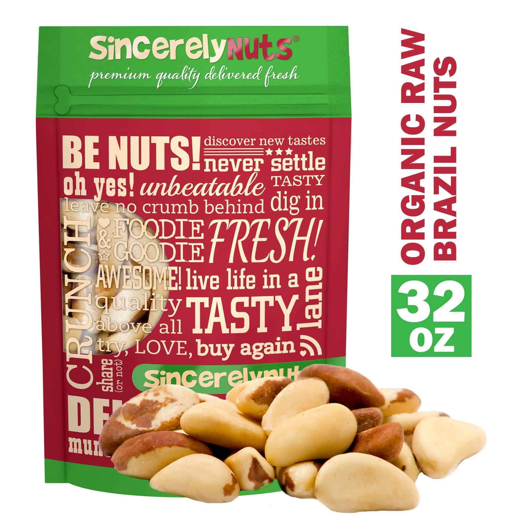 Sincerely Nuts Organic Raw Brazil Nuts No Shell (2 Lb. Bag) -Premium Healthy Snack Food | Whole, Kosher, Vegan, Gluten Free | Keto & Paleo Diet Friendly |Gourmet Snack | Vitamins & Minerals