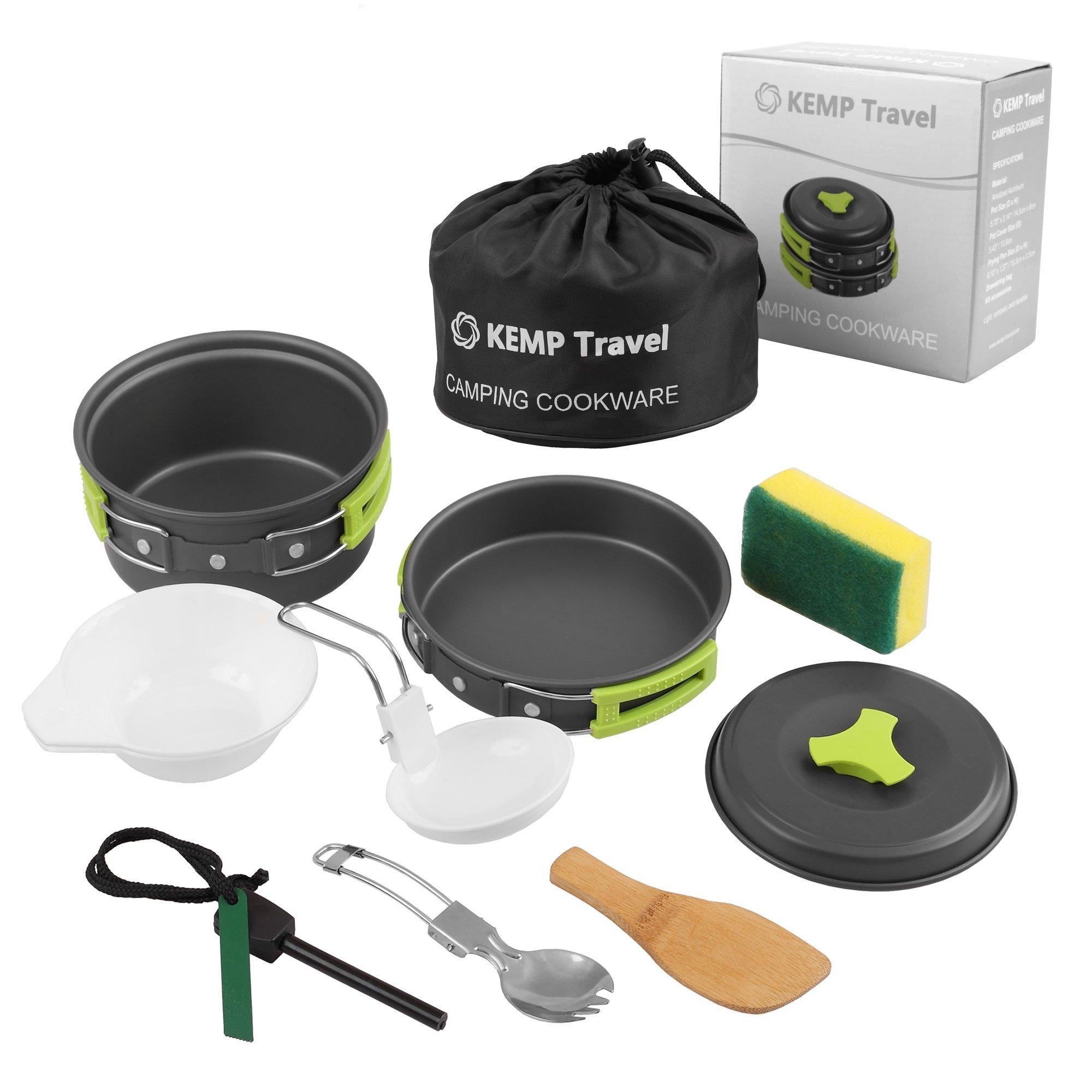 KEMP Travel Camping Cookware - 10pcs Backpacking Cooking Equipment - compact, lightweight anodized pot & pan - Nonstick Cookset - Hiking Mess Kit - Outdoor Gear- Camp Kitchen - Camping Utensil Set