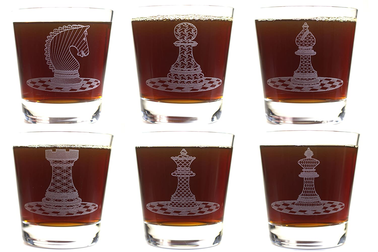 Crystal Rocks Glasses Chess Six Piece Set