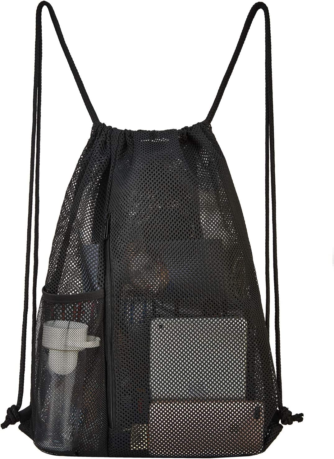 Heavy Duty Mesh Drawstring bag for Soccer Ball Drawstring Backpack Sports Gym Bag for Women Men Large Size with Zipper and Water Bottle Mesh Pockets Beach Toys