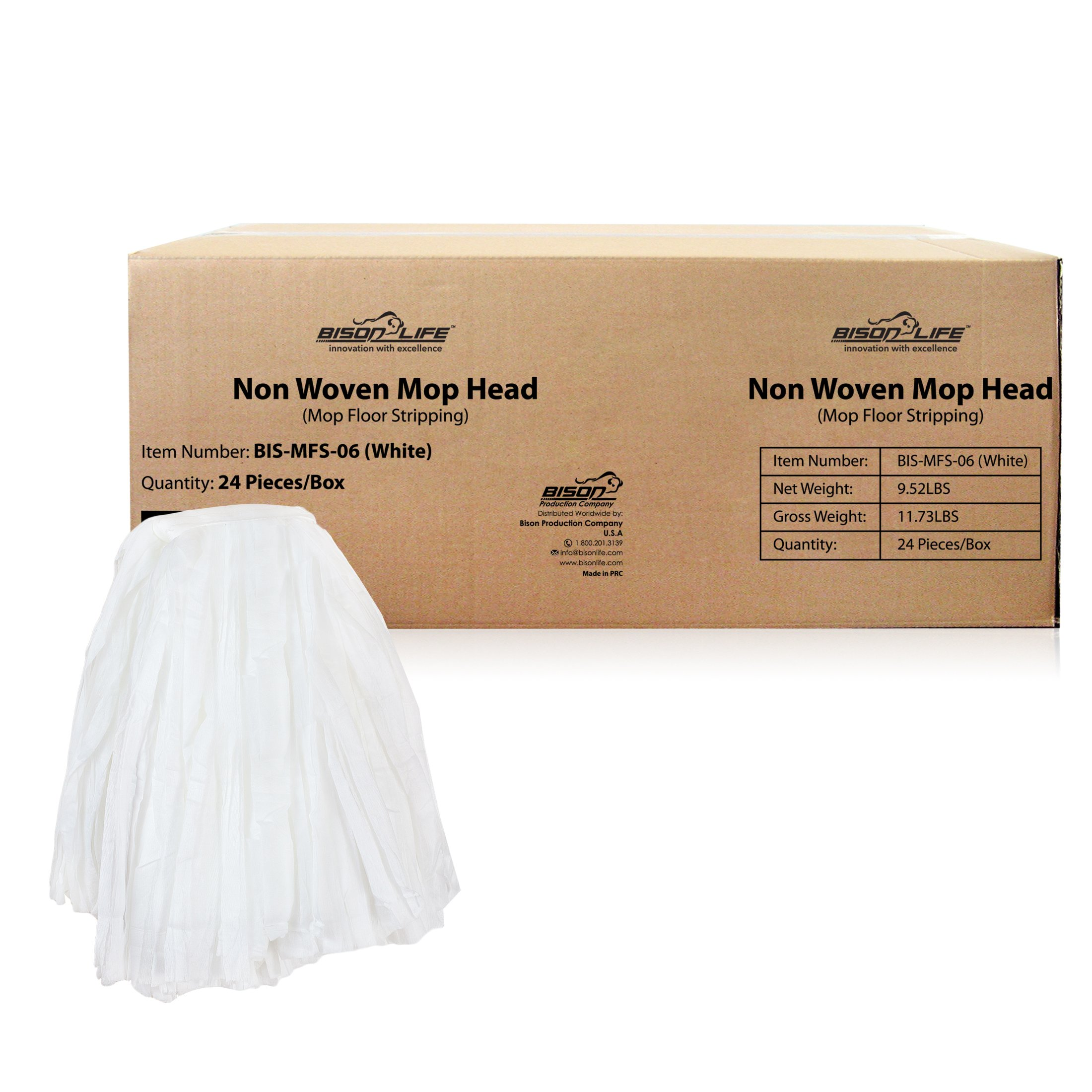KLEEN HANDLER Disposable Industrial Mop Head Replacement, Non-Woven Cut End Floor Cleaning Wet Mop Head Refill (Case of 24) by KLEEN HANDLER