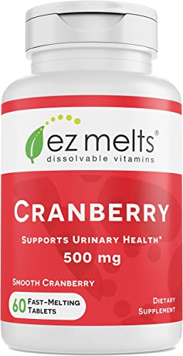 EZ Melts Cranberry for Urinary Health, 500 mg, Sublingual Vitamins, Vegan, Zero Sugar, Natural Cranberry Flavor, 60 Fast Dissolve Tablets