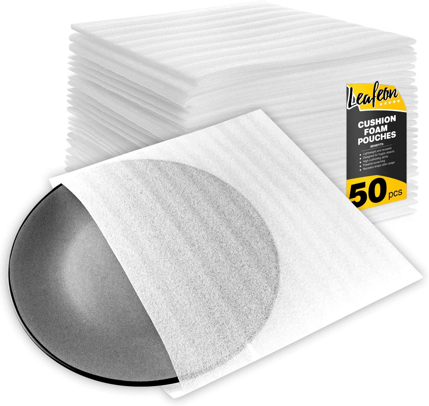"""9.5"""" x 9.5"""" Foam Wrap Pouches Cushioning for Packing Moving Shipping and Storage Supplies - Foam Pouches is Great Alternative to Air Sheets and Bubble Packing Envelopes - 50 Pack: Office Products"""