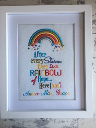 Amazon personalised embroidered rainbow baby picture frame personalised embroidered rainbow baby picture frame newborn baby shower gift nursery negle Images