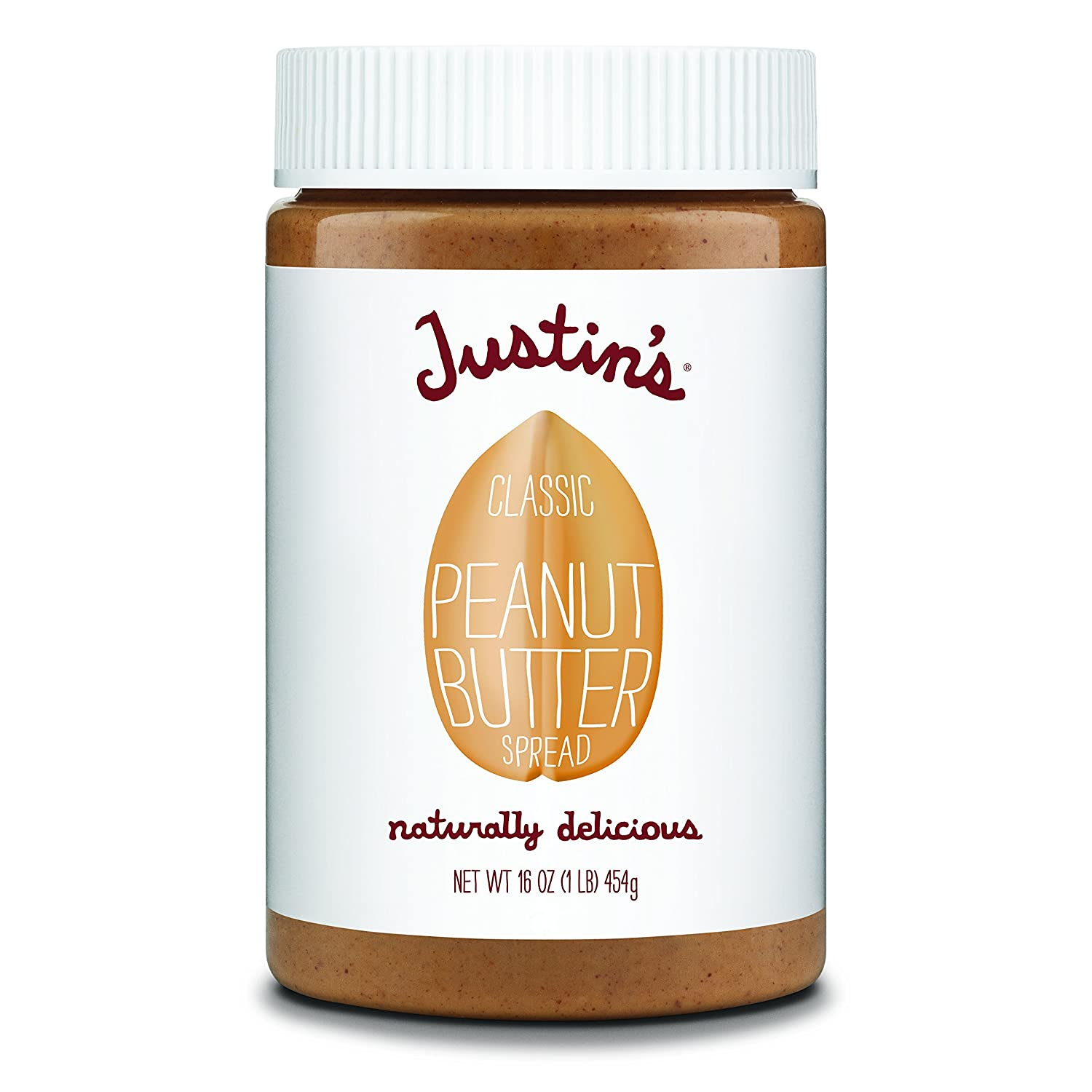 Amazon.com : Classic Peanut Butter by Justins, Only Two Ingredients, No Stir, Gluten-free, Non-GMO, Responsibly Sourced, 12 Jars, 16oz each : Grocery ...