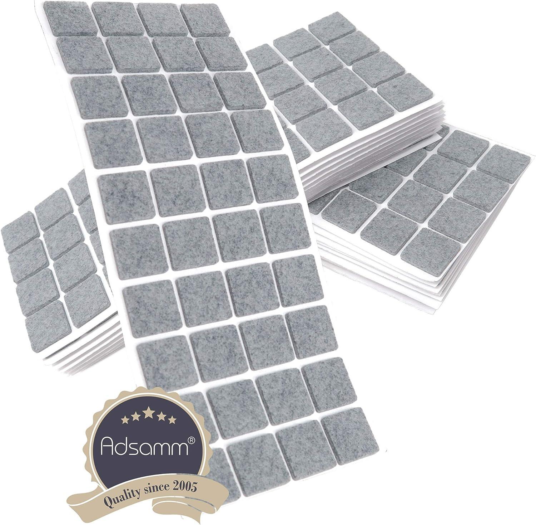 3.5 mm starke selbstklebende Filz-M/öbelgleiter in Top-Qualit/ät 25x25 mm 800 x Filzgleiter quadratisch Grau Adsamm/®
