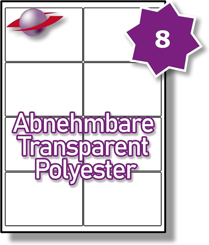 80 Etiketten Label Planet/® A4 Gl/änzend Transparente Polyester Abl/ösbar Etiketten F/ür Laserdrucker 99.1 x 67.7mm 8 Pro Blatt 10 Bl/ätter LP8//99 GTR.