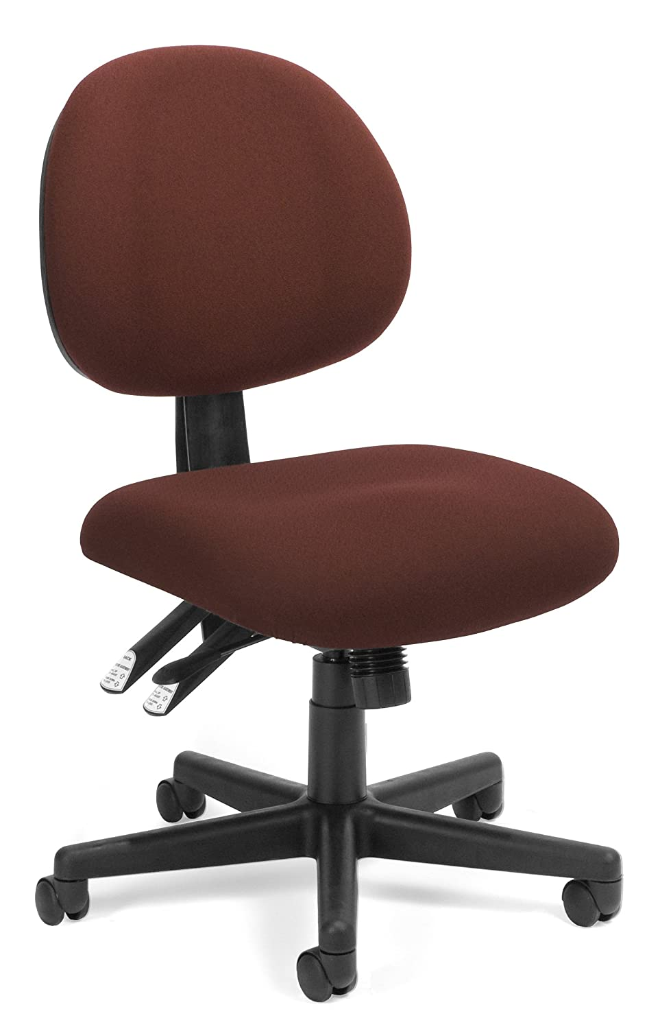 OFM 24-Hour Upholstered Multi-Adjustable Armless Task Chair, Burgundy