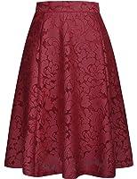 GRACE KARIN Women Floral Skirt High Waisted A Line Knee Length Skirts CLAF0236