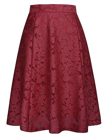 ac59b98521dc8 GRACE KARIN Women Floral Skirt High Waisted A Line Knee Length ...