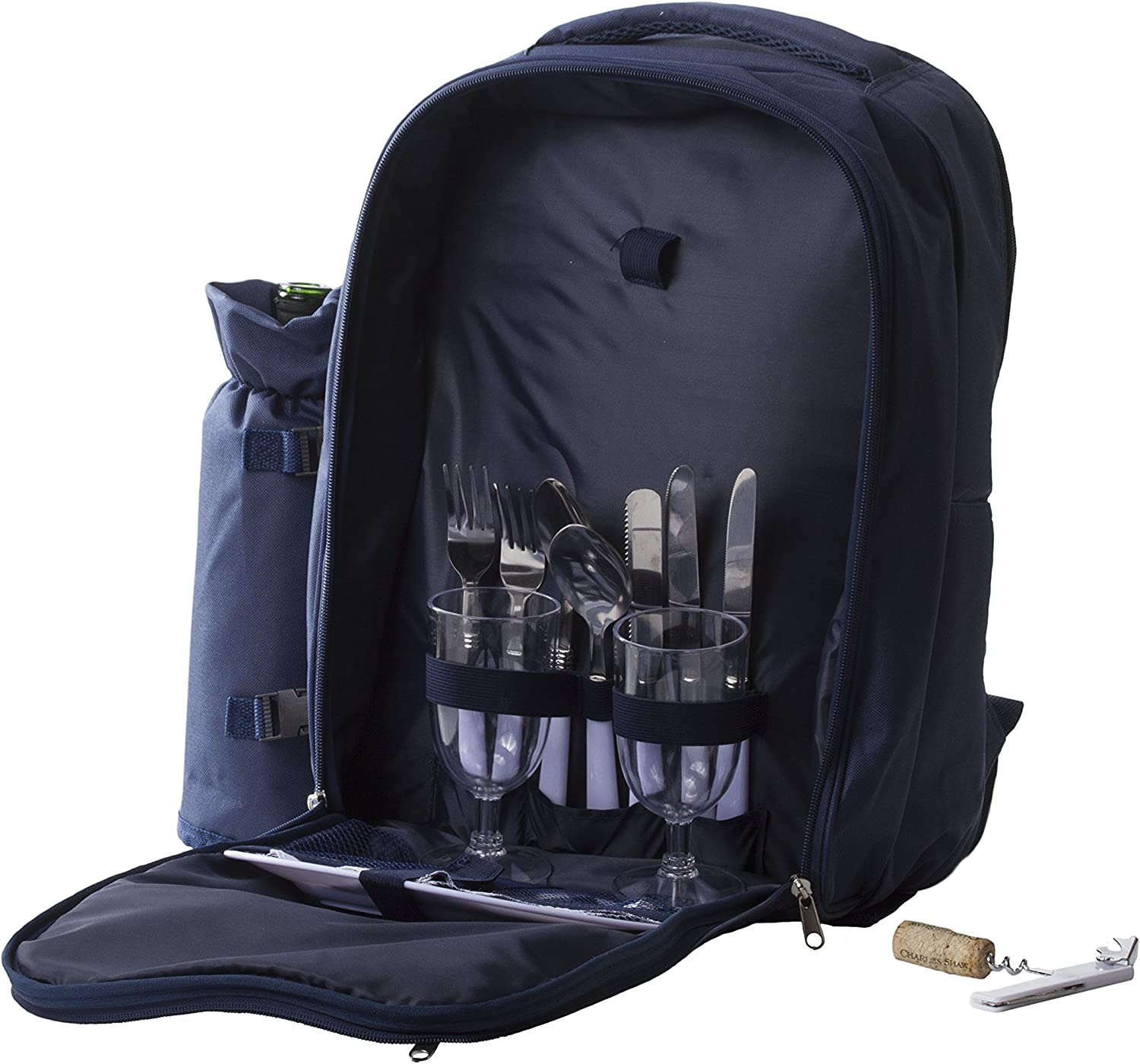 Imperial Home Insulated Picnic Basket - Lunch Tote Cooler Picnic Backpack w/Two Place Setting (Navy Blue)