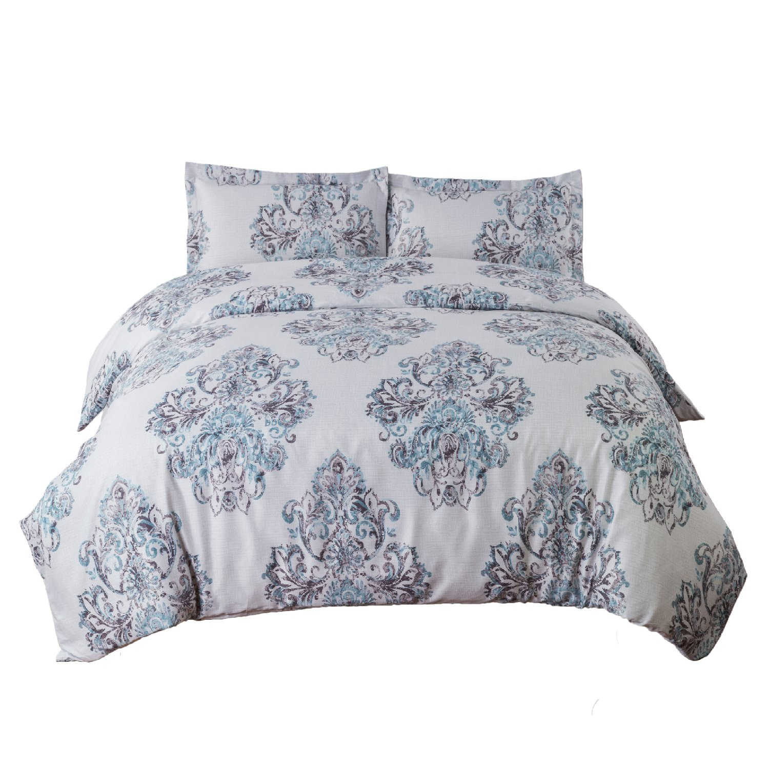 Damask Floral Duvet Cover Set King Size Grey Duvet Cover Zipper Closure 3 Pieces Bedding Set
