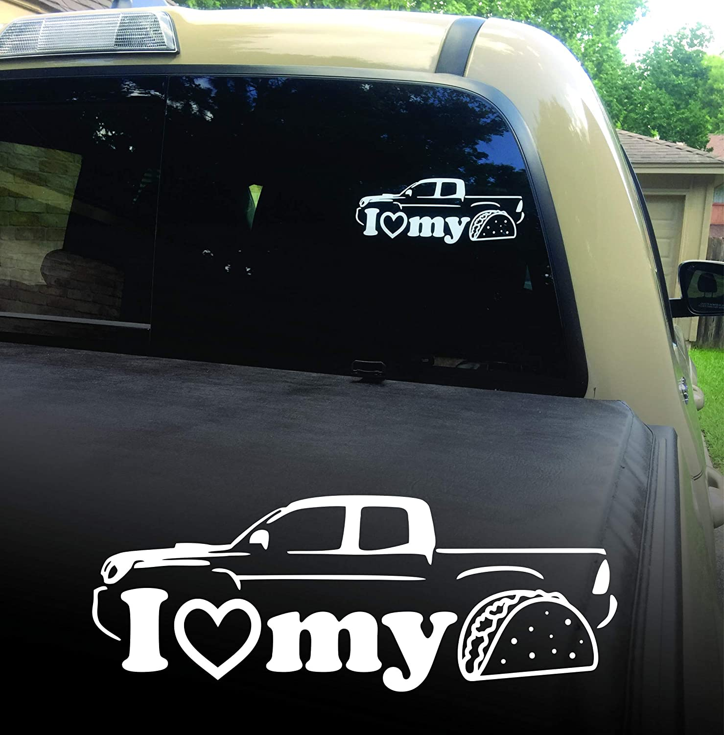 I Love My Taco Vinyl Decal Sticker for Toyota Tacoma Truck Windshield