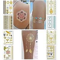 PUBAMALL Tatuajes temporales metálicos para Mujeres, niñas adolescentes, tatuajes de Henna metálico Boho (8 piezas)
