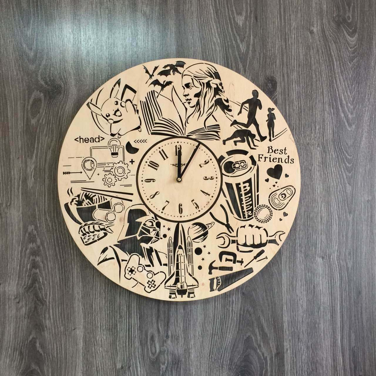Everyday Activities Wall Clock Made of WOOD - Perfect and Beautifully Cut - Decorate your Home with MODERN ART - UNIQUE GIFT for Him and Her - Size 17.7 Inches