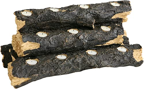 SEI Furniture Resin Tealight Faux Fireplace Log Candle Holder