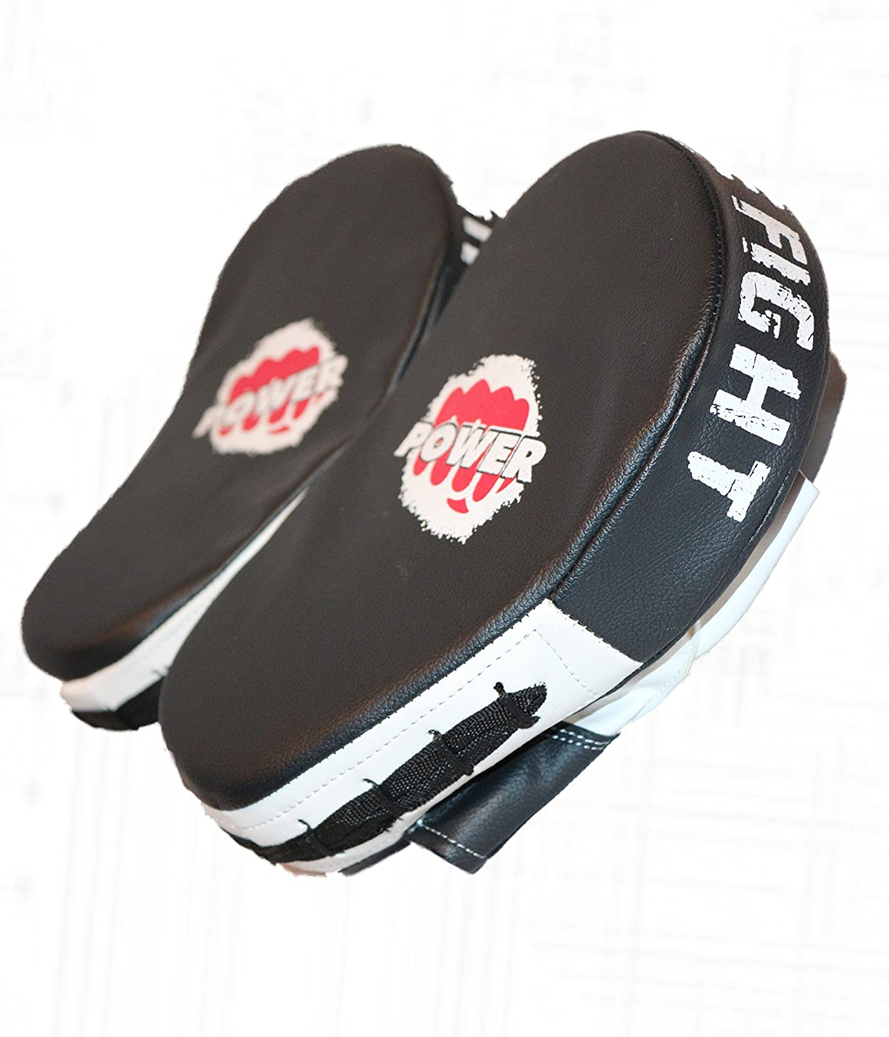 Focus Pads Curved Hook /& Jab Pad Rex Leather Mitts Black /& White