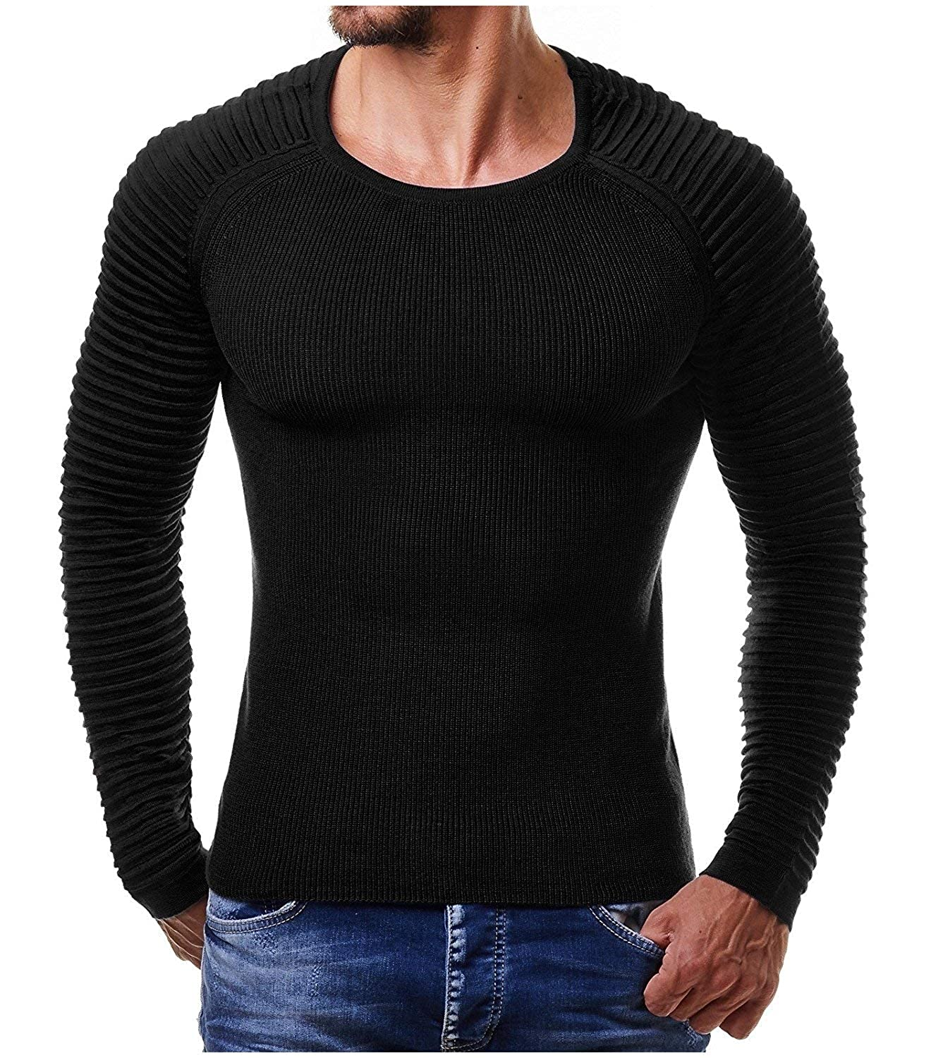Sayah Mens Muscle Pure Color Pullover O-Neck Knitted Sweaters Tees Top